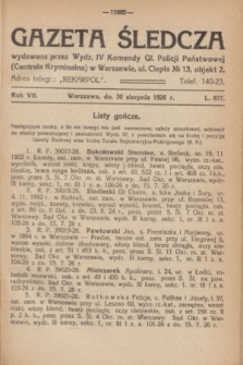 Gazeta Śledcza. R.7, L. 877 (30 sierpnia 1926)