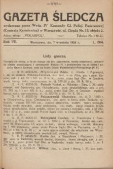 Gazeta Śledcza. R.7, L. 884 (7 września 1926)