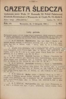 Gazeta Śledcza. R.7, L. 903 (3 listopad 1926)
