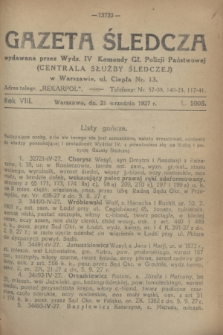 Gazeta Śledcza. R.8, L. 1005 (21 września 1927)