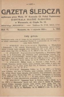 Gazeta Śledcza. R.9, L. 1040 (11 stycznia 1928)