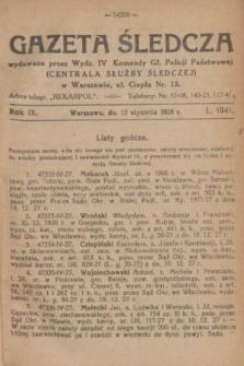 Gazeta Śledcza. R.9, L. 1041 (13 stycznia 1928)