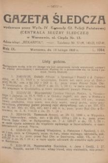 Gazeta Śledcza. R.9, L. 1054 (13 lutego 1928)