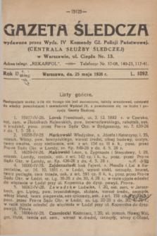 Gazeta Śledcza. R.9, L. 1092 (25 maja 1928)