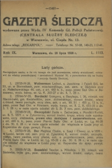 Gazeta Śledcza. R.9, L. 1113 (28 lipca 1928)