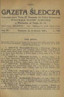 Gazeta Śledcza. R.9, L. 1120 (20 sierpnia 1928)