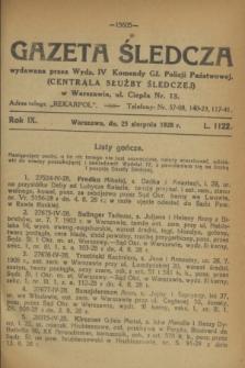 Gazeta Śledcza. R.9, L. 1122 (25 sierpnia 1928)