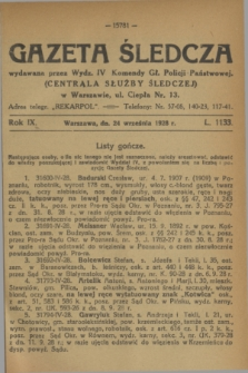 Gazeta Śledcza. R.9, L. 1133 (24 września 1928)