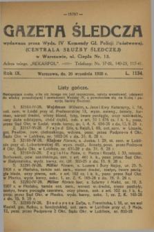 Gazeta Śledcza. R.9, L. 1134 (26 września 1928)