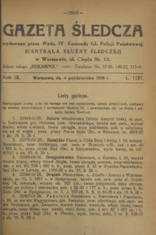 Gazeta Śledcza. R.9, L. 1137 (4 października 1928)