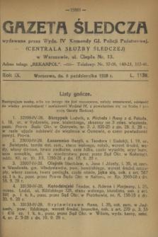 Gazeta Śledcza. R.9, L. 1138 (6 października 1928)