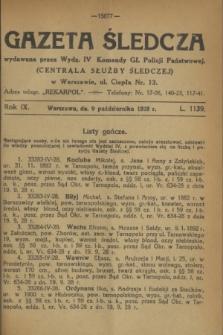 Gazeta Śledcza. R.9, L. 1139 (9 października 1928)