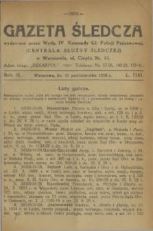 Gazeta Śledcza. R.9, L. 1141 (12 października 1928)