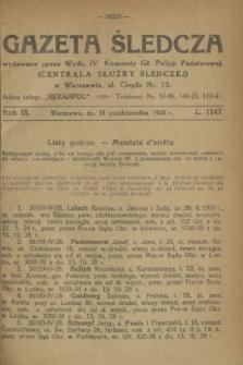 Gazeta Śledcza. R.9, L. 1147 (31 października 1928)