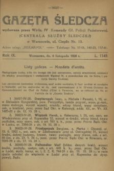 Gazeta Śledcza. R.9, L. 1149 (6 listopada 1928)
