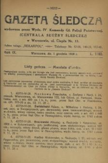 Gazeta Śledcza. R.9, L. 1160 (1 grudnia 1928)