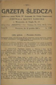 Gazeta Śledcza. R.9, L. 1168 (22 grudnia 1928)