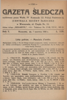 Gazeta Śledcza. R.10, L. 1228 (7 czerwca 1929)