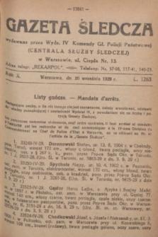 Gazeta Śledcza. R.10, L. 1263 (20 września 1929) + dod.