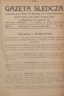 Gazeta Śledcza. R.10, L. 1267 (2 października 1929)