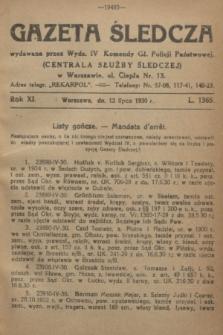 Gazeta Śledcza. R.11, L. 1365 (12 lipca 1930)
