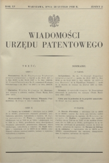 Wiadomości Urzędu Patentowego. R.15, z. 2 (28 lutego 1938)