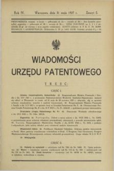 Wiadomości Urzędu Patentowego. R.4, z. 5 (31 maja 1927)