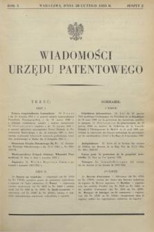 Wiadomości Urzędu Patentowego. R.10, z. 2 (28 lutego 1933)