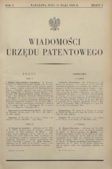 Wiadomości Urzędu Patentowego. R.10, z. 5 (31 maja 1933)