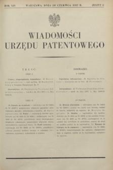 Wiadomości Urzędu Patentowego. R.14, z. 6 (30 czerwca 1937)