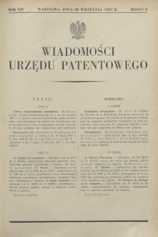 Wiadomości Urzędu Patentowego. R.14, z. 9 (30 września 1937)