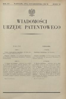 Wiadomości Urzędu Patentowego. R.14, z. 10 (30 października 1937)