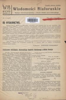 WB Wiadomości Białoruskie : biuletyn informacyjo-prasowy z różnych dziedzin życia białoruskiego. R.3, № 1/2 (1 lutego 1938)
