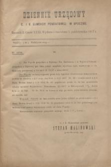 Dziennik Urzędowy C. i K. Komendy Powiatowej w Opocznie.R.3, cz. 31 (5 października 1917)