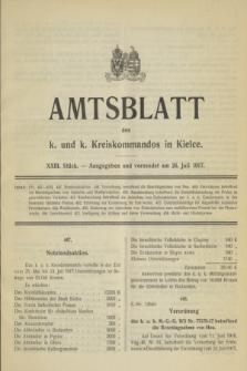 Amtsblatt des k. und k. Kreiskommandos in Kielce.1917, Stück 23 (26 Juli)