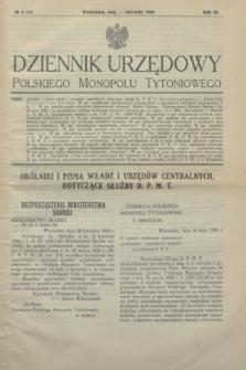 Dziennik Urzędowy Polskiego Monopolu Tytoniowego.R.3 [i.e.4], № 3 (maj/czerwiec 1930) = № 15