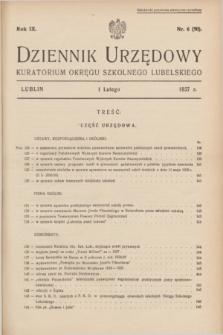 Dziennik Urzędowy Kuratorium Okręgu Szkolnego Lubelskiego.R.9, nr 6 (1 lutego 1937) = nr 90