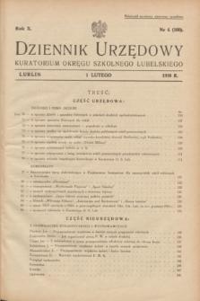 Dziennik Urzędowy Kuratorjum Okręgu Szkolnego Lubelskiego.R.10, nr 6 (1 lutego 1938) = nr 100