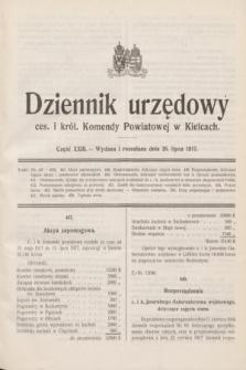 Dziennik urzędowy ces. i król. Komendy Powiatowej w Kielcach.1917, cz. 23 (26 lipca)