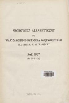 Warszawski Dziennik Wojewódzki dla Obszaru m. st. Warszawy.1937, Skorowidz alfabetyczny dla Warszawskiego Dziennika Wojewódzkiego dla Obszaru m. st. Warszawy