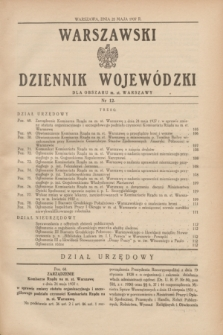 Warszawski Dziennik Wojewódzki dla Obszaru m. st. Warszawy.1937, nr 12 (25 maja)