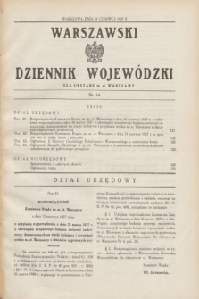 Warszawski Dziennik Wojewódzki dla Obszaru m. st. Warszawy.1937, nr 14 (22 czerwca)