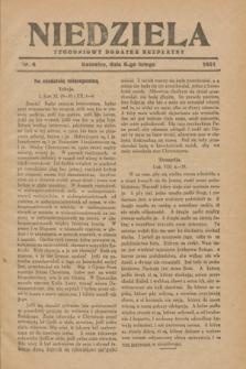 Niedziela : tygodniowy dodatek bezpłatny.1931, nr 6 (8 lutego)