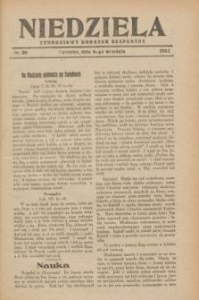 Niedziela : tygodniowy dodatek bezpłatny.1931, nr 36 (6 września)