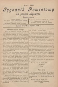 Tygodnik Powiatowy na powiat Rybnicki : organ urzędowy.1928, nr 4 (8 stycznia)