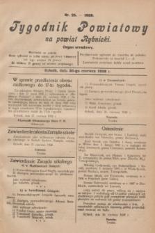 Tygodnik Powiatowy na powiat Rybnicki : organ urzędowy.1928, nr 26 (30 czerwca)