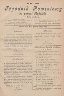 Tygodnik Powiatowy na powiat Rybnicki : organ urzędowy.1928, nr 40 (6 października)