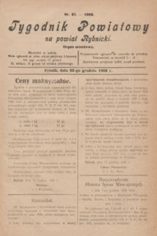 Tygodnik Powiatowy na powiat Rybnicki : organ urzędowy.1928, nr 51 (22 grudnia)
