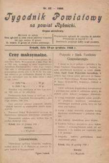 Tygodnik Powiatowy na powiat Rybnicki : organ urzędowy.1928, nr 52 (29 grudnia)