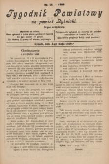 Tygodnik Powiatowy na powiat Rybnicki : organ urzędowy.1929, nr 18 (4 maja)